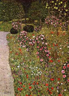 Gustav Klimt >> Fruitgarden with Roses, 1911 - 12 - Private Collection