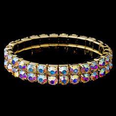 Double Row Aurora Borealis Rhinestone Stretch Bracelet in Gold 4152