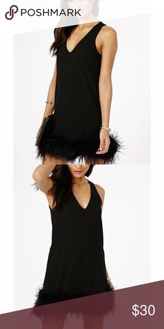Feather trim LBD Gorgeous little black dress featuring a feather trim. Fits sizes 4-6. Worn only on one evening! Like - new condition. Missguided Dresses Mini