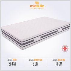 Il materasso memory foam una piazza e mezza Top 25 Bayscent è composto da un doppio strato: una lastra in waterfoam alta 18 cm, ed una in memory foam alta 6 cm, rivestite con fodera in tessuto Bayscent.