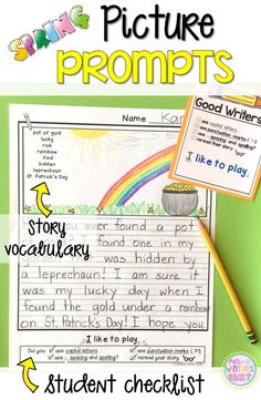 Spring Writing Picture Prompts~ These picture prompts naturally differentiate your writing center. Each page has key vocabulary to support kindergarten, first and second grade writers. These are a perfect addition to your work on writing center!