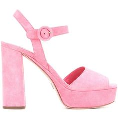 Prada Suede Platform Sandals ($755) ❤ liked on Polyvore featuring shoes, sandals, prada, prada sandals, pink platform sandals, platform sandals, suede platform sandals and pink shoes