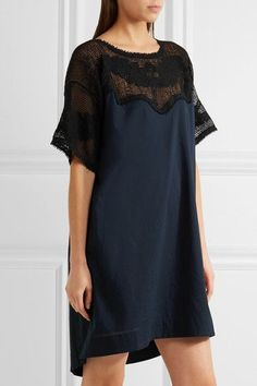 The Great - Bloomer Crochet-paneled Cotton Mini Dress - Midnight blue -