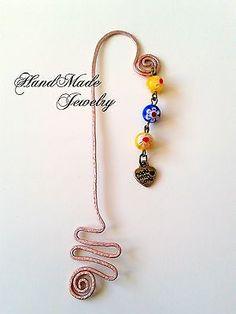 Handmade+Wire+BookMark+with+millafiori+beads
