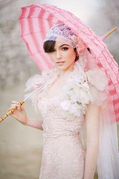 Vintage Braut im Regen