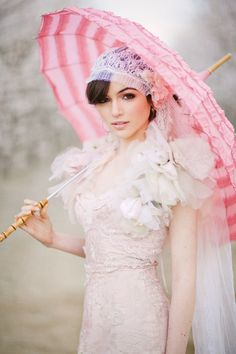 Vintage inspired lace veil with blush rose accent. #bridal #accessories