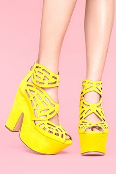 Lovely! Cutout details and bright yellow color... who's attention am I getting? #gallista #nastygal $155.00