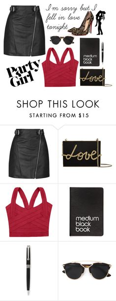 """#galentinesday"" by my-life-my-worries ❤ liked on Polyvore featuring Topshop, Christian Louboutin, Lanvin, Dinks, Montegrappa, Christian Dior, women's clothing, women, female and woman"