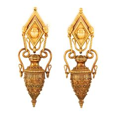 Pair of Egyptian Revival Gold Pendant-Earrings for Sale at Auction on Tue, - - Fine Jewelry & Contents of Abandoned Safe Deposit Boxes Victorian Jewelry, Antique Jewelry, Vintage Jewelry, Sea Glass Jewelry, Gold Jewelry, Fine Jewelry, Jewelry Box, Egyptian Jewelry, Ancient Jewelry