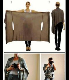 Cardigan Like a Bina Brianca Wrap is Must-have Womens Top : DIY Two Tutorials for the Bina Brianca Wrap. It can be worn as ascarf cardigan poncho blouse shrug stole turtleneck shoulder scarf backwrap. Diy Clothing, Sewing Clothes, Trendy Clothing, Diy Kleidung, Diy Vetement, Refashioning, Mode Inspiration, Ideias Fashion, Fashion Ideas