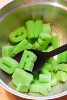 Place the letters into the mixing bowl and have the students help you stir the alphabet soup. Each student then gets a turn the dip a letter or letters into their soup bowls. After they dip they identify the letters, letter sounds or both