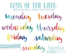 Days of the week Watercolor Hand painted Lettering png clipart for calendars, words, quotes, for invitations, birthday, cursive