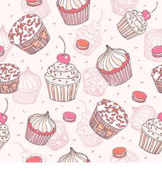 Cupcakes and macaroons seamless pattern vector - by BenihimeArt on VectorStock®