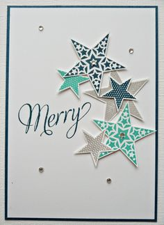 Love the random stars - cute & simple Xmas card Congratulations en kerstkaart Company Christmas Cards, Stampin Up Christmas, Christmas Cards To Make, Handmade Christmas, Holiday Cards, Christmas Crafts, Paper Cards, Diy Cards, Star Cards