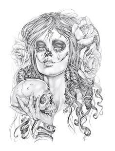 Day of the dead, Dias di Los muertos, pencil drawing tattoo illustration by Gemma pallat