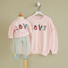Mother baby Outfits Daughter Pajamas Hoodies O-neck Letter Fashion Clothes Winter Autumn Coat Sport Causal Clothing of baby girl
