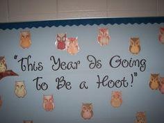 Cute owl theme-K- cute bulletin board idea for Sept. Owl Classroom Decor, Future Classroom, Classroom Themes, Classroom Activities, Classroom Organization, Classroom Management, Classroom Teacher, Kindergarten Classroom, Behavior Management