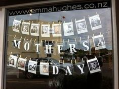 Mother's day window - lovely idea - simple to implement and gives a personal feel. Run a competition for your customers to feature photos of their Mothers. my lovely Auntie Janet lives on Waiheke Island too : ) Salon Window Display, Window Display Retail, Retail Windows, Store Windows, Display Windows, Merchandising Displays, Store Displays, Retail Displays, Decoration Vitrine