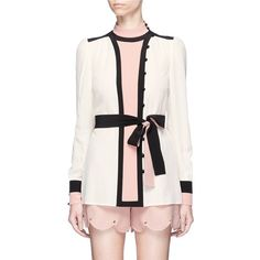 Valentino Colourblock belted high collar crepe blouse (€1.560) ❤ liked on Polyvore featuring tops, blouses, white button blouse, ruched top, white crepe blouse, ruched blouse and valentino blouse