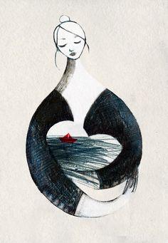 illustrazione mare lampedusa francesca ballarini - la balia delle onde