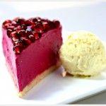 Raw Pomegranate Cheesecake with Clementine Gelato