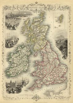 Vintage map of British Isles Print 16 x 22 by AncientShades, $30.00