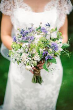 Blue and White bridal bouquet. Sweet peas, ammi majus, marjoram - meadow flowers