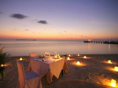 Wakatobi Dive Resort: Sunset dining on the beach. I can see my sweetie and I having a romantic dinner every night.