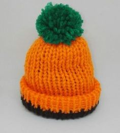 f9ccd0247e7 PUMPKIN ORANGE HANDMADE KNITTED PREMATURE BABY HAT REBORN DOLL TINY   Halloween
