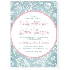 I wanted to share with you these Blue Seashell Pink Beach Wedding Invitations? Do you like them?    Beach wedding invitations designed with your wedding details in pink and blue, inside a pink outlined circle, over a blue and white seashell pattern background. Modern and stylish Summer wedding invitations with a beach theme.