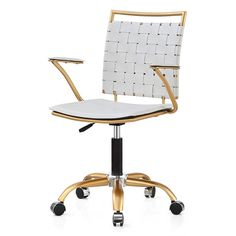 Mid-Back Office Chair from Wayfair Comfortable white desk chair with gold metal hardware