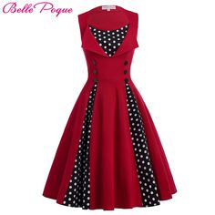 e9badd99c043 Belle Poque Women Summer Red Vintage Dress 2017 Polka Dot Patchwork Retro  Pin up Rockabilly Swing Wedding Party Dresses