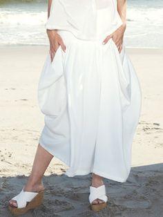 White Asymmetrical Casual Midi Skirt