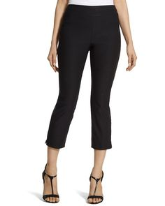 Black fitted crops for daytime in Italy. Brigitte Crop Pants