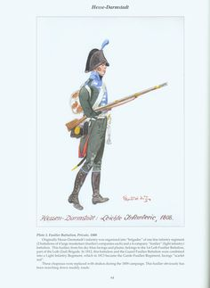 The Confederation of the Rhine - Hesse - Darmstadt: Plate 1. Fusilier Battalion, Private, 1808