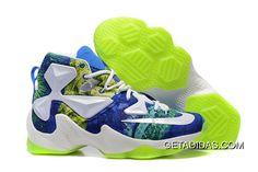 Nike Lebron 13 White/Blue-Volt New Release Air Force 1, Nike Air Force, Nike Air Max, Nike Air Jordan Retro, Air Jordans, New Jordans Shoes, Newest Jordans, Zapatos Air Jordan, Air Jordan Sneakers