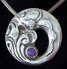 SUPERB VINTAGE STERLING NECKLACE PENDANT LIKE GEORG JENSEN FISH DESIGN #10 - Designer Jewelry Galleria