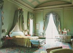 The current Master Bedroom at Cotswold House, Sezincote. Photo from JOHN FOWLER THE PRINCE OF DECORATORS