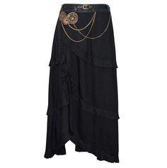 Denny Black Steampunk Skirt