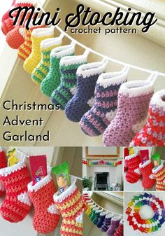 Crochet Projects Adorable mini stocking crochet pattern would make a perfect advent calendar or just make a couple and they'd be cute tree ornaments! Christmas stockings are such great decorations! So fun for kids! Crochet Christmas Stocking Pattern, Crochet Stocking, Crochet Christmas Decorations, Crochet Christmas Ornaments, Crochet Decoration, Christmas Knitting, Crochet Gifts, Christmas Crafts, Christmas Christmas