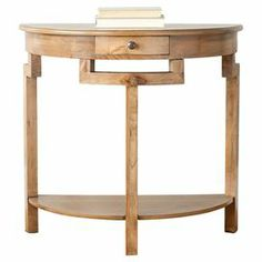 """Elm wood demilune console table with an open bottom shelf.  Product: Console tableConstruction Material: Elm woodColor: Oak  Features: One drawerOpen bottom shelf  Dimensions: 31.9"""" H x 29.7"""" W x 14.2"""" D"""