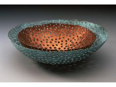 Two nesting bowls- Copper and Copper with blue patina