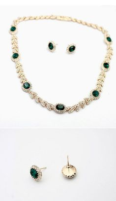 18K Rose Gold Plated With Austrian Crystal Stellux Emerald Jewelry Set | Stylish Beth