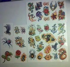 New Temporary Tattoos Panther Heart Flame Tiger Snake Dice Rose Dragon Skull | eBay