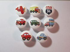 Hand Painted Cars Trucks Transportation (1) Theme Drawer Pull Knob Police…