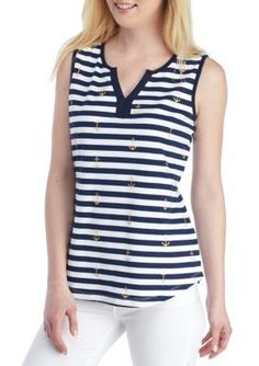 4fd7ce880266 Kim Rogers Women's Striped Anchor Tank - - No Size Anchor Print, Cami Tops,