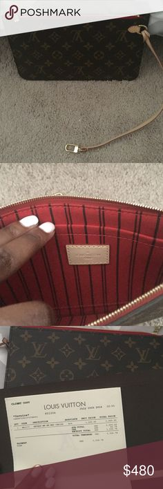 Never Used Louis Vuitton Monogram Clutch pochette Brand new, Never used Louis Vuitton 100% authentic pochette, will come with a copy of the original receipt. Bundle this with my Prada glasses for only an additional 100. Cheaper on M or Pay***. The lowest through posh is 460. Will take $400 on Ⓜ️ Louis Vuitton Bags Mini Bags