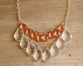 Coral and Clear Teardrop Statement Necklace#Repin By:Pinterest++ for iPad#