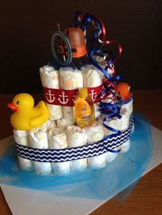 Diaper Cake Boat - Nautical Theme Baby Boat Diaper Cake- Boy or Gender Neutral - Duckies and More! MUST SEE! on Etsy, $40.00