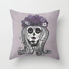 FLOWER CANDY SKULL Throw Pillow #pillow #girls #grunge #emo # #skull #halloween #iphonecase #sugarskull #candyskull #makeup #skull_makeup #purple #sad #accessoire #cross #eyes #illustration #vintage